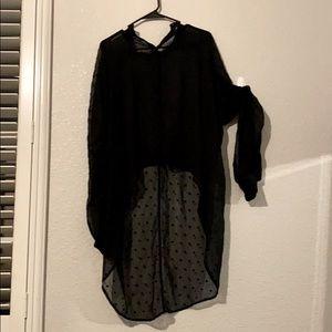 Sheer hi-low blouse